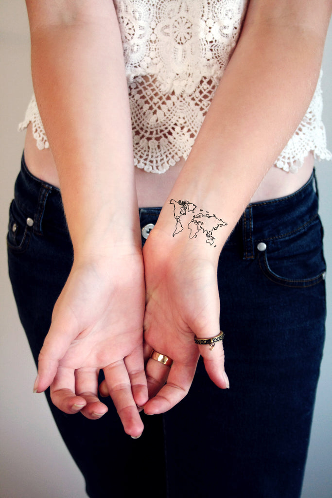World map temporary tattoo - a temporary tattoo by Tattoorary