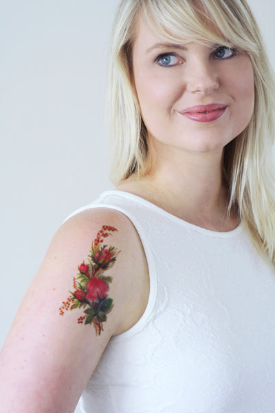 Vintage floral temporary tattoo - a temporary tattoo by Tattoorary