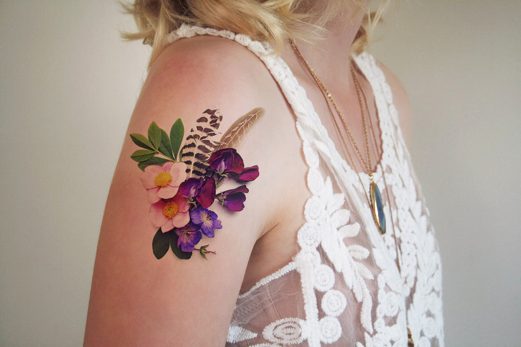 Flowers and feathers temporary tattoo - a temporary tattoo by Tattoorary