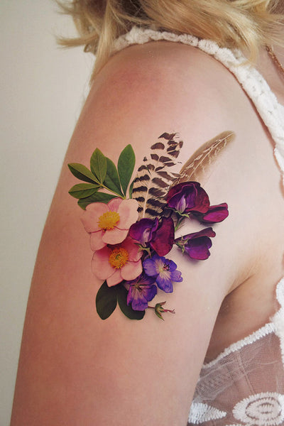 Floral temporary tattoos temporary tattoos by tattoorary for Floral temporary tattoos