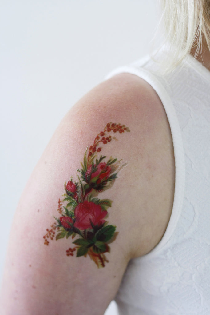 Vintage floral temporary tattoo temporary tattoos by for Floral temporary tattoos