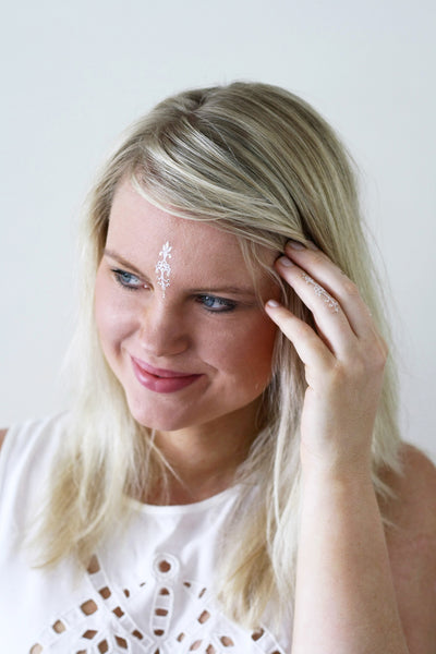 White and gold bindi temporary tattoos - a temporary tattoo by Tattoorary