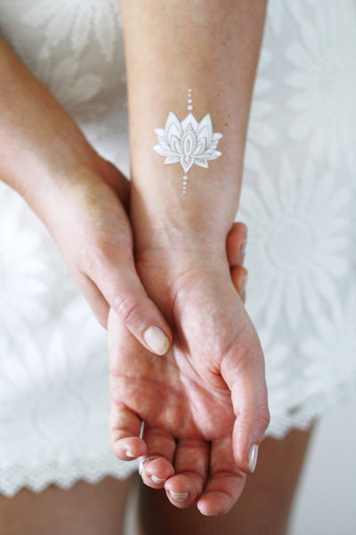 Small Wrist Lotus Flower Tattoo Designs: Silver And White Lotus Temporary Tattoos