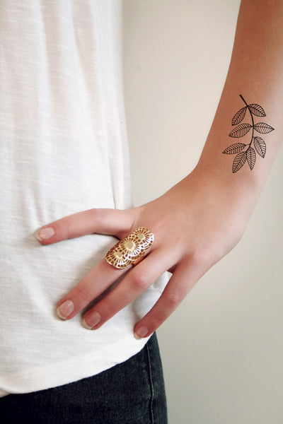 Leave branch temporary tattoo - a temporary tattoo by Tattoorary