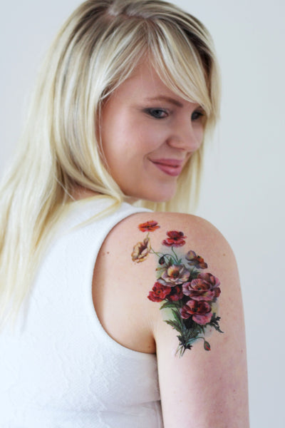 Large vintage poppy temporary tattoo - a temporary tattoo by Tattoorary