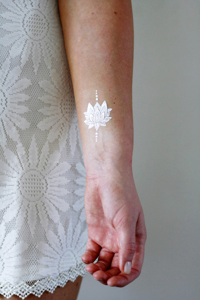 Silver and white lotus temporary tattoos - a temporary tattoo by Tattoorary