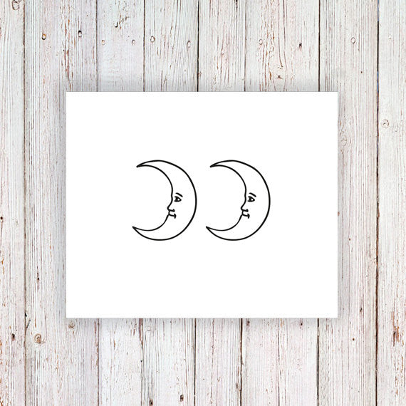 Moon temporary tattoo (set of 2) - a temporary tattoo by Tattoorary
