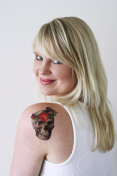 Vintage skull with flower headband temporary tattoo - a temporary tattoo by Tattoorary
