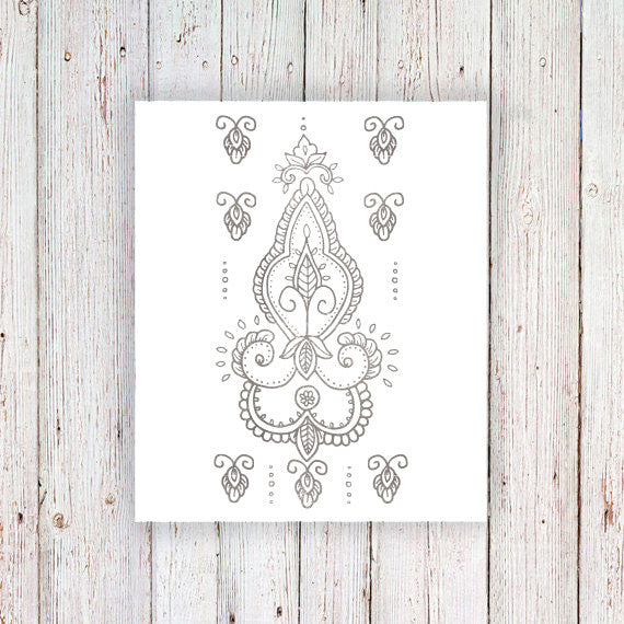 Delicate silver henna temporary tattoo - a temporary tattoo by Tattoorary