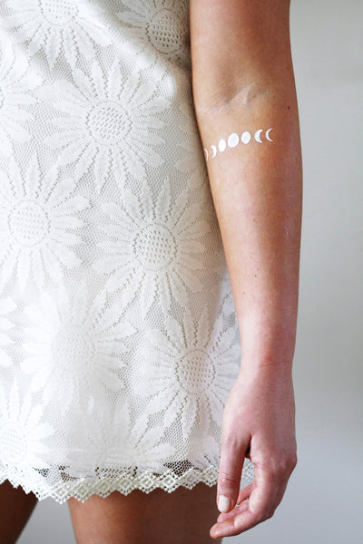 Silver and gold moon phase temporary tattoos - a temporary tattoo by Tattoorary