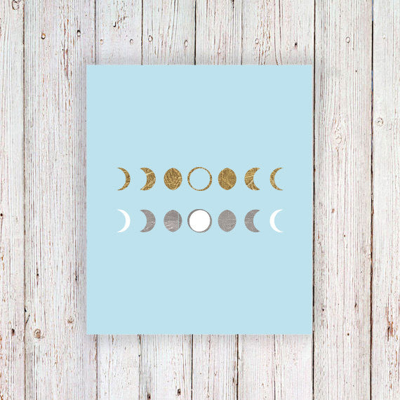Gold and silver moon phase temporary tattoos - a temporary tattoo by Tattoorary