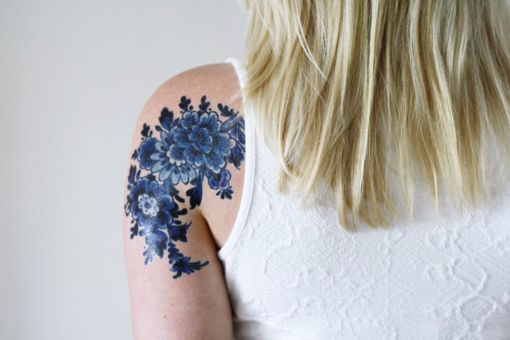 Large Delfts Blue tattoo - a temporary tattoo by Tattoorary