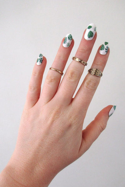 Leaf nail decals - a temporary tattoo by Tattoorary