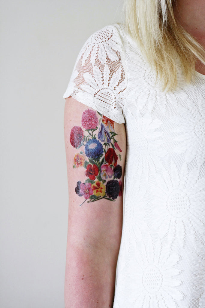 Large and colorful floral temporary tattoo - a temporary tattoo by Tattoorary