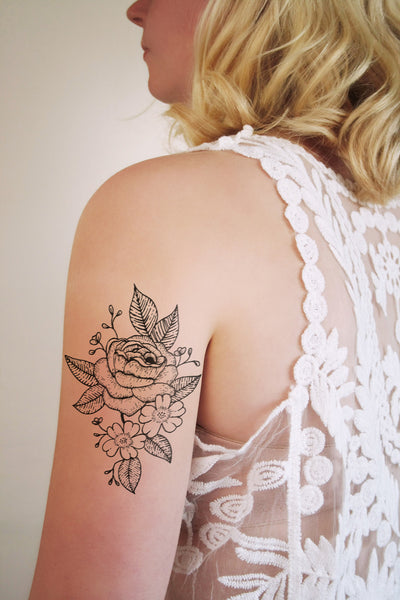 Floral temporary tattoo in black and white - a temporary tattoo by Tattoorary