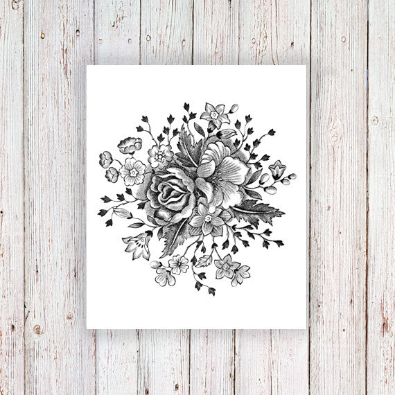 Large vintage black and white floral temporary tattoo ...  Large vintage b...