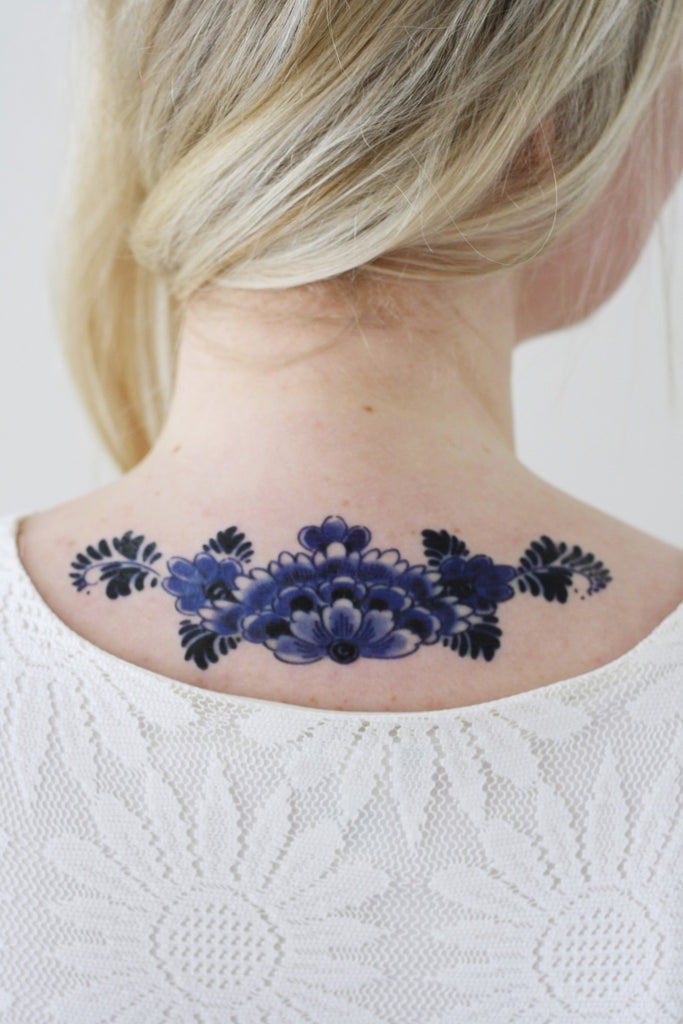 Delfts Blue back tattoo - a temporary tattoo by Tattoorary