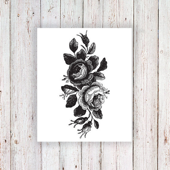 Large vintage roses floral temporary tattoo - a temporary tattoo by Tattoorary