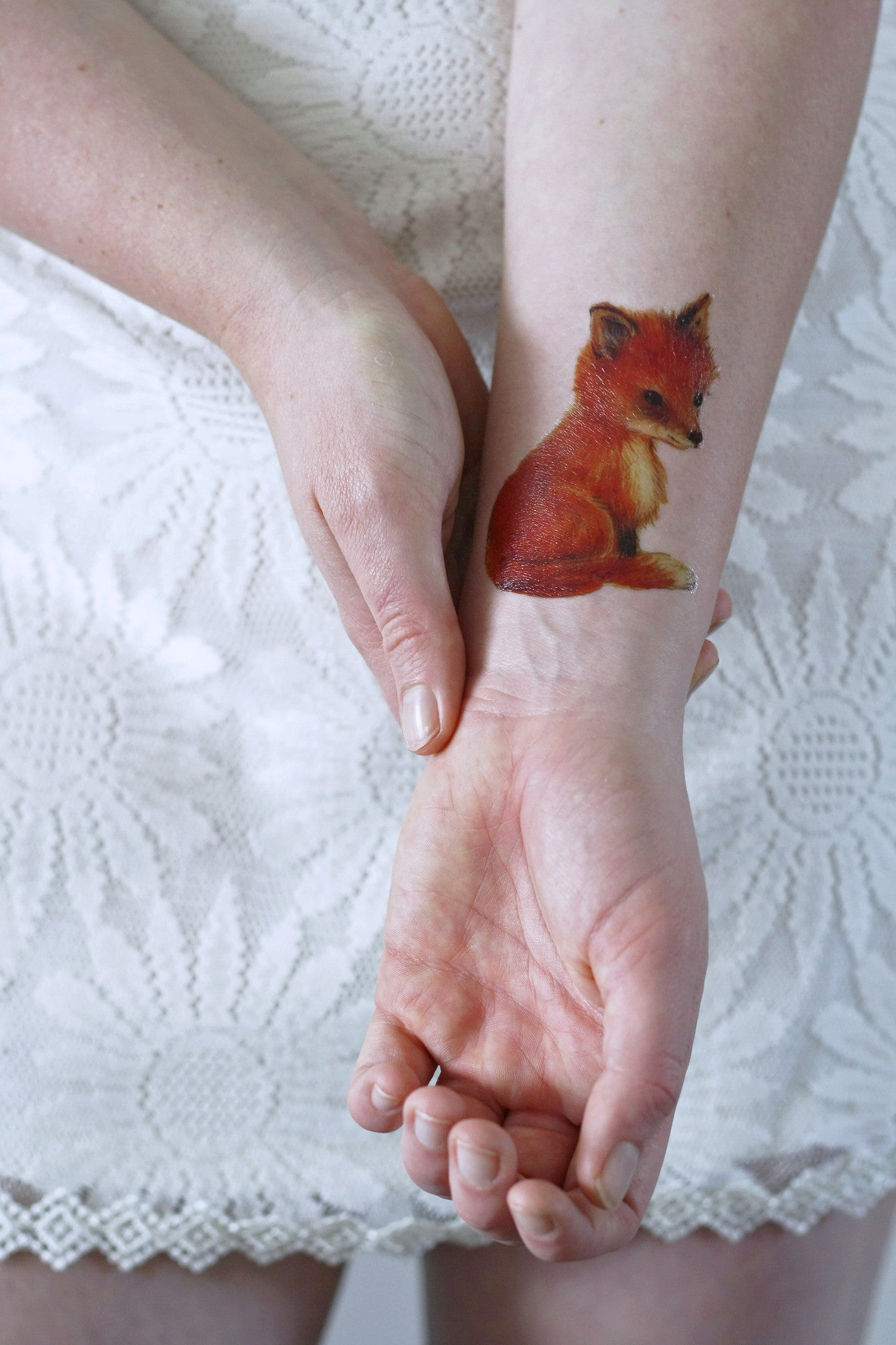 Cute Little Fox Temporary Tattoo
