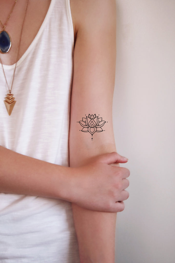 Lotus temporary tattoo - a temporary tattoo by Tattoorary