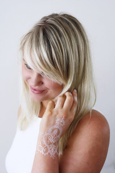 White henna hand temporary tattoo - a temporary tattoo by Tattoorary
