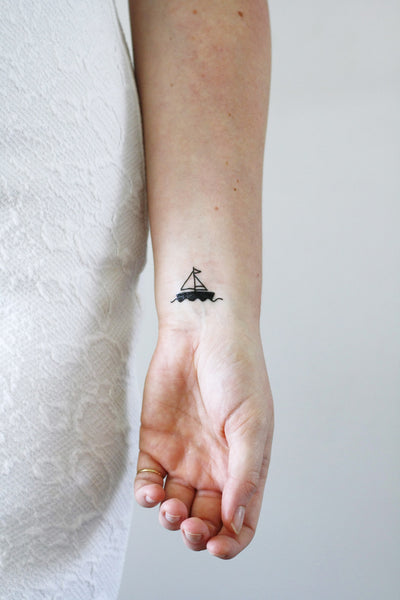 Ship Tattoo Small: Two Small Boat Temporary Tattoos (2 Pieces)