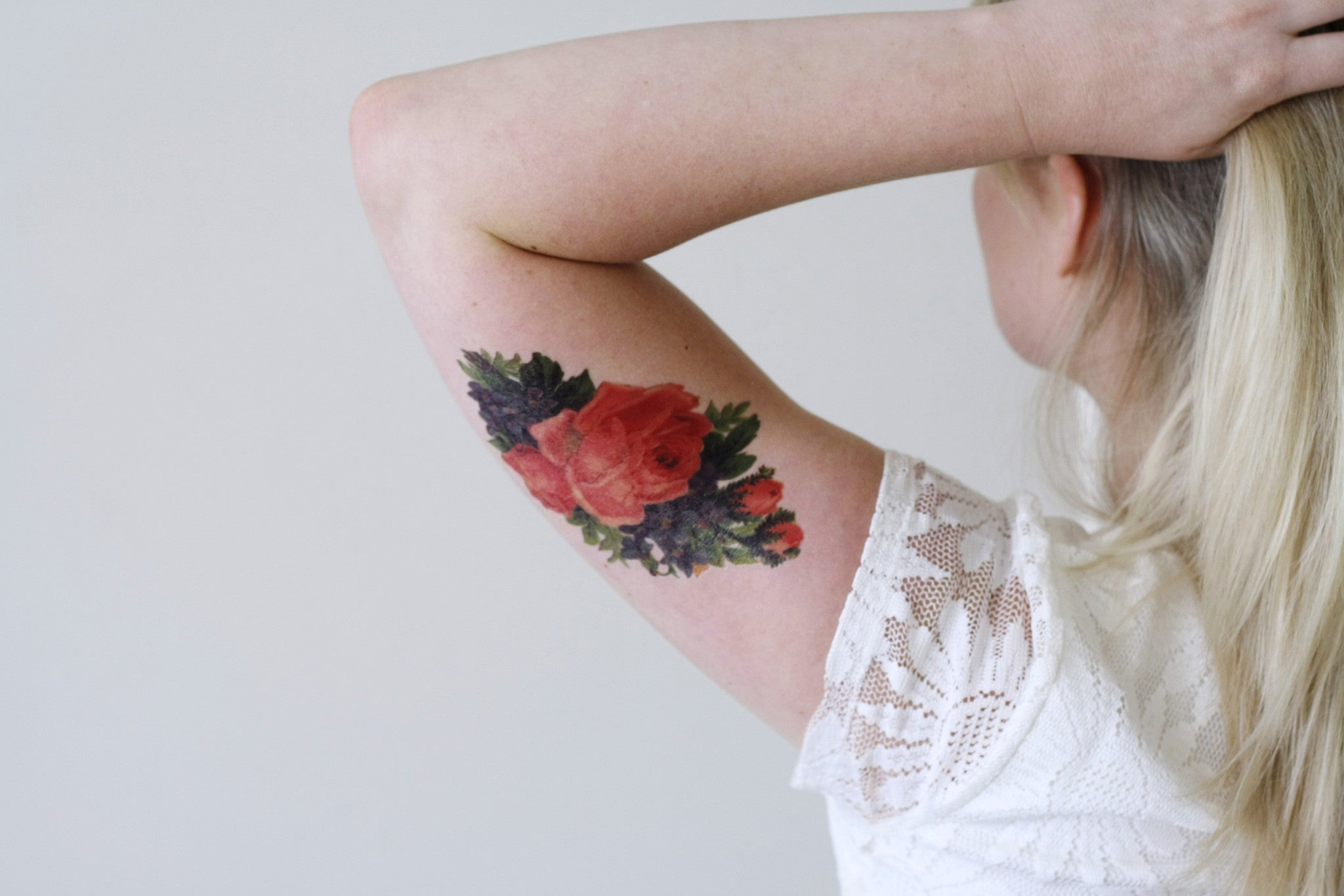 Large Pink Rose Temporary Tattoo Temporary Tattoos By Tattoorary