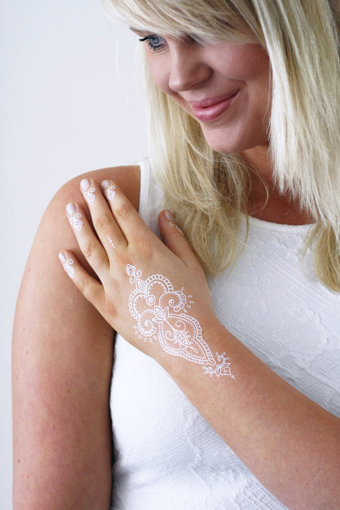 White henna temporary tattoo - a temporary tattoo by Tattoorary
