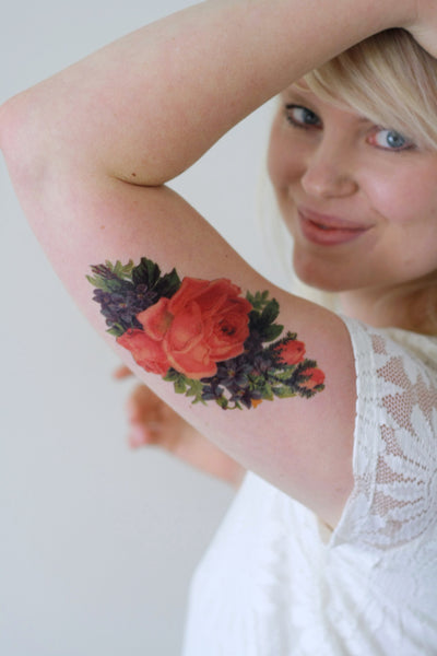 Large pink rose temporary tattoo - a temporary tattoo by Tattoorary