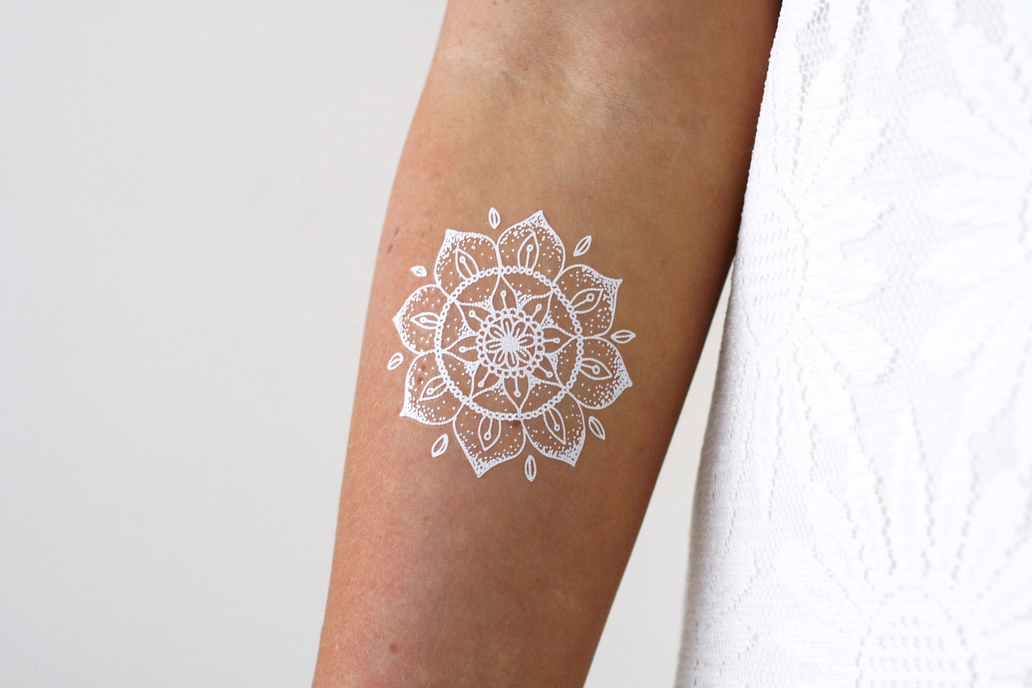white mandala temporary tattoo tattoorary. Black Bedroom Furniture Sets. Home Design Ideas