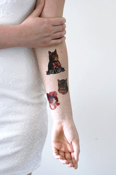 Temporary tattoos with animals temporary tattoos by for Cat lady tattoo
