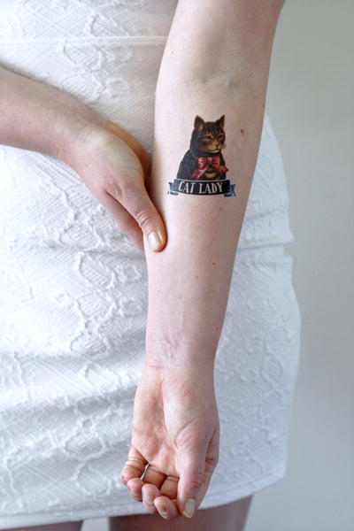 Cat lady temporary tattoo - a temporary tattoo by Tattoorary