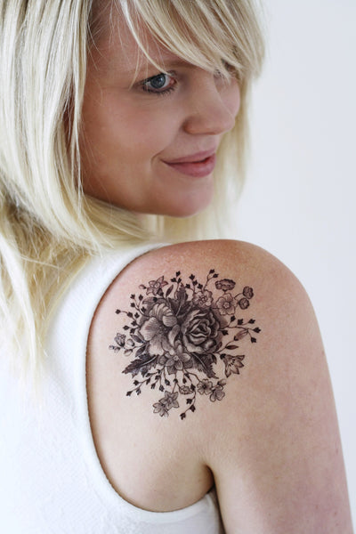 Large vintage black and white floral temporary tattoo - a temporary tattoo by Tattoorary