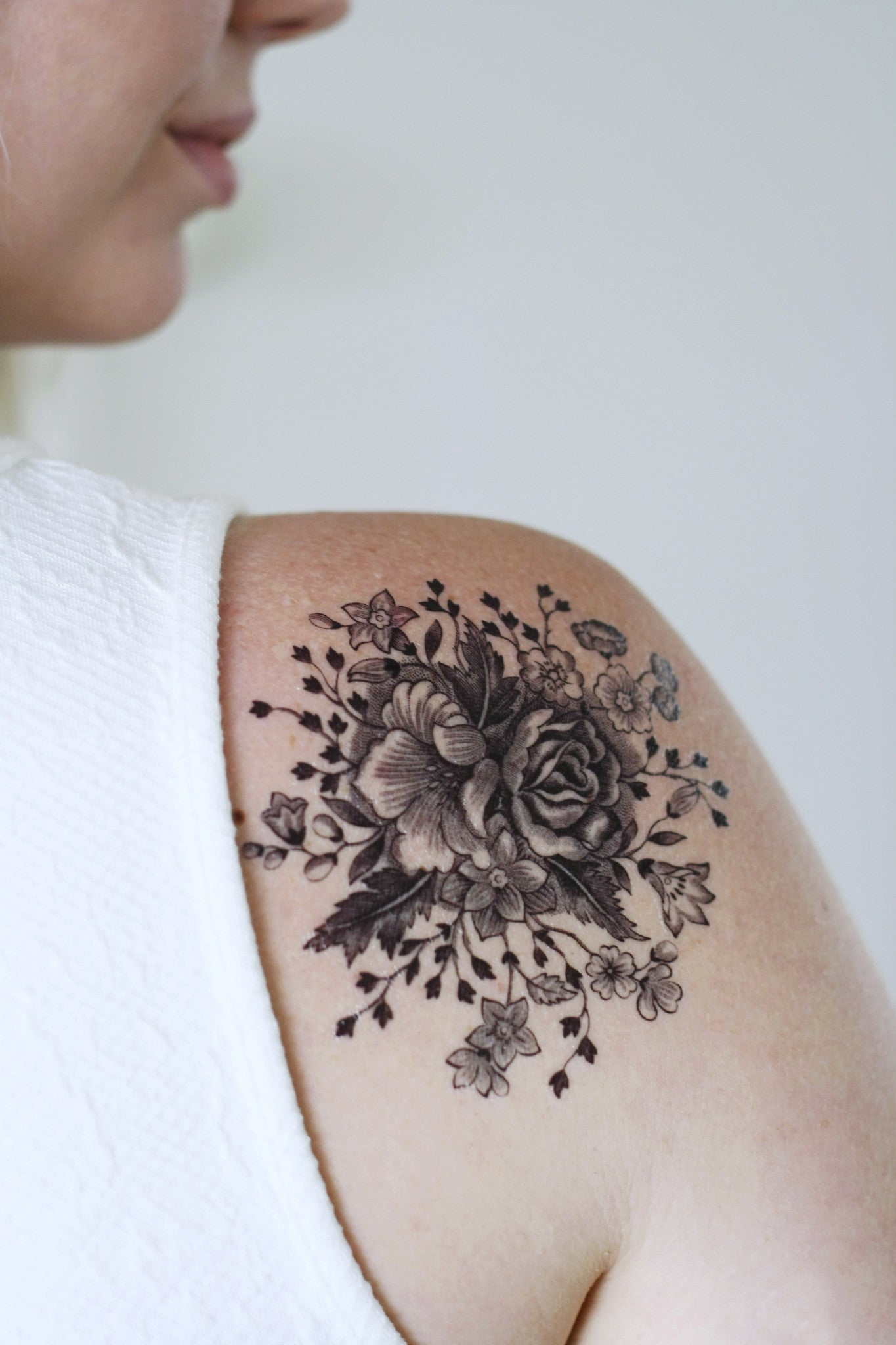 Large Vintage Black And White Floral Temporary Tattoo Temporary