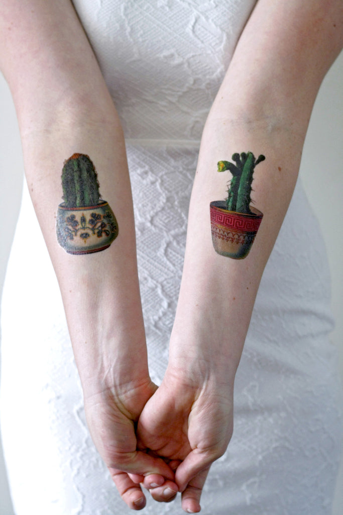 Cactus set temporary tattoo (2 pieces) - a temporary tattoo by Tattoorary