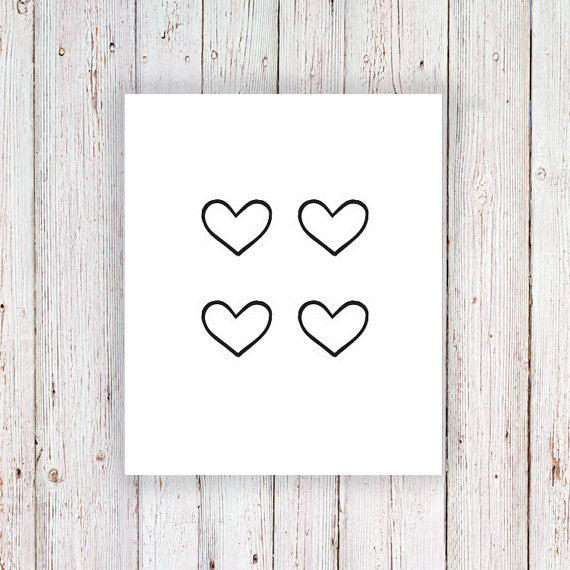Small hearts temporary tattoo set (4 pieces) - a temporary tattoo by Tattoorary