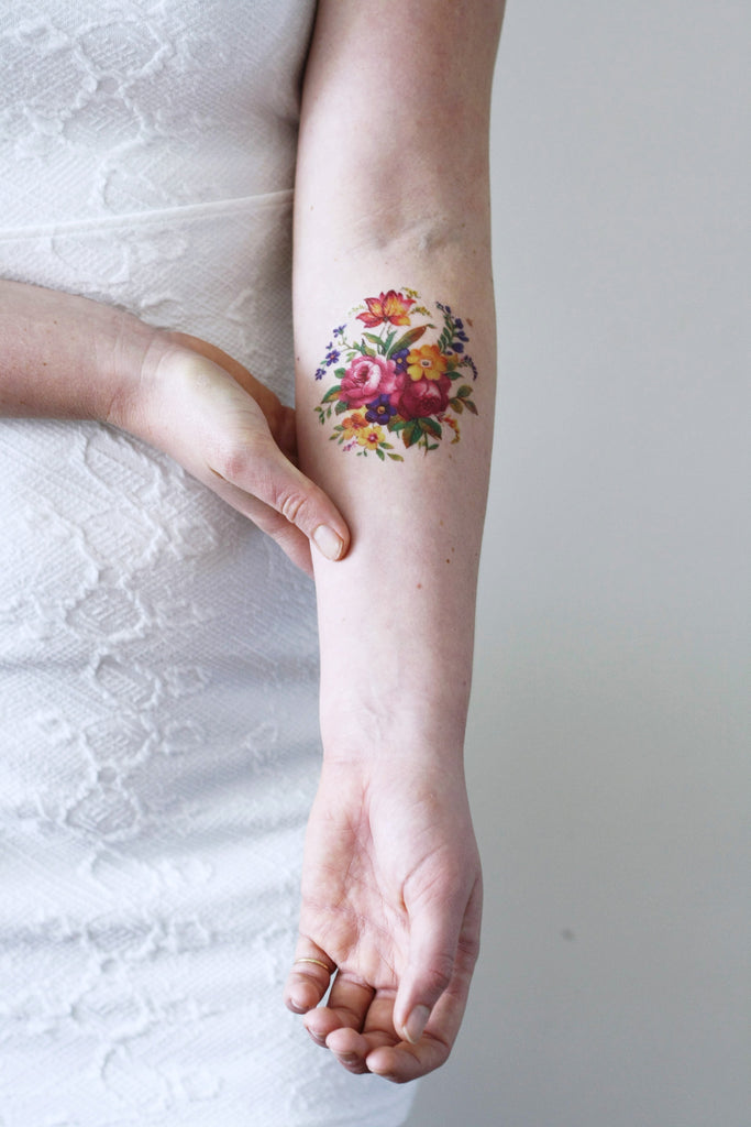 Colorful round floral temporary tattoo - a temporary tattoo by Tattoorary