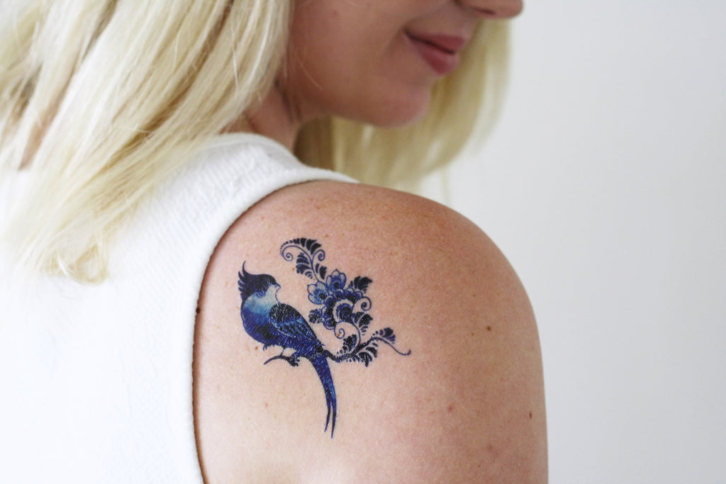 Delfts Blue bird and flower tattoo - a temporary tattoo by Tattoorary