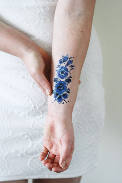 Delft Blue flower tattoo - a temporary tattoo by Tattoorary