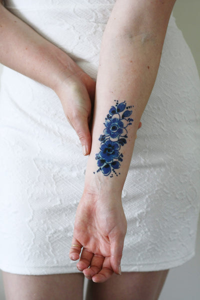Blue Flower Tattoo Designs: Temporary Tattoos By Tattoorary