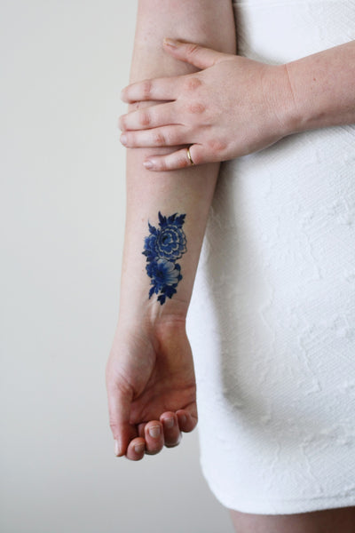 Delfts Blue flower tattoo - a temporary tattoo by Tattoorary