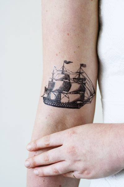 Vintage ship temporary tattoo - a temporary tattoo by Tattoorary