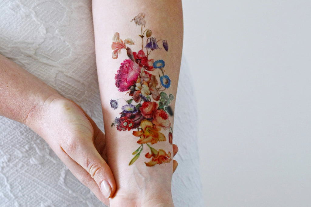 Beautiful large vintage floral temporary tattoo - a temporary tattoo by Tattoorary