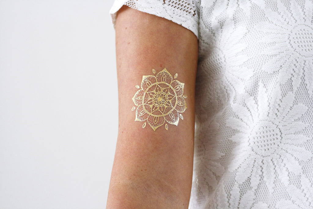 Gold mandala temporary tattoo - a temporary tattoo by Tattoorary