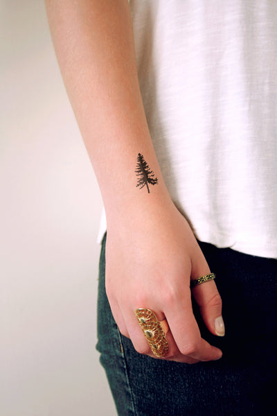 Pine tree temporary tattoo