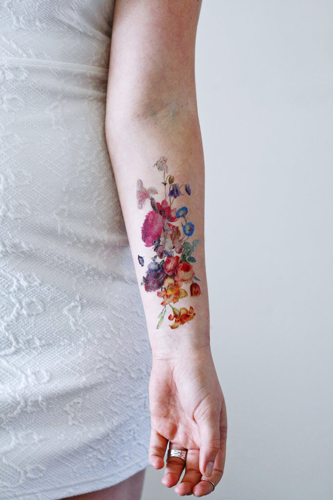 Beautiful large vintage floral temporary tattoo for Floral temporary tattoos
