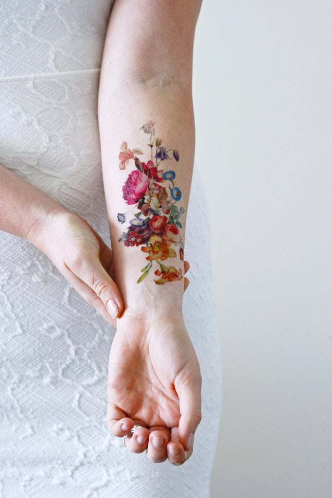 Beautiful large vintage floral temporary tattoo for Vintage floral tattoo