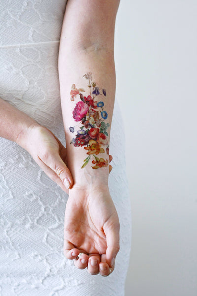 Large pink rose temporary tattoo