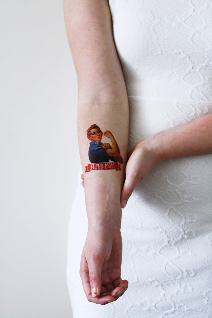 Mother's day temporary tattoo 'Super Mom' - a temporary tattoo by Tattoorary