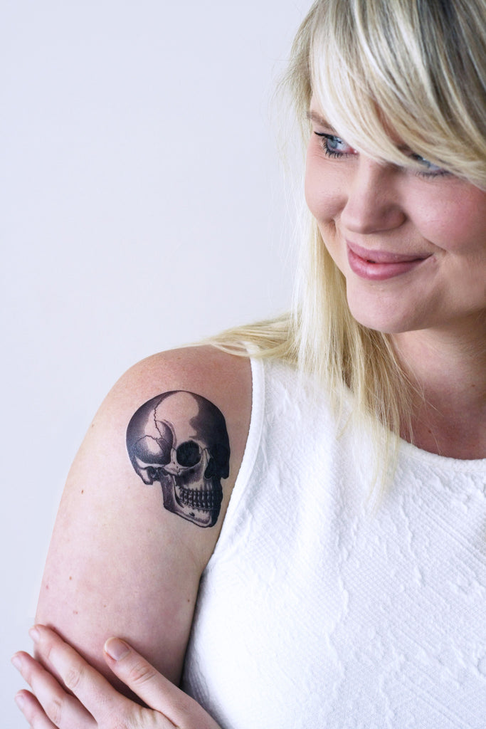 Vintage skull temporary tattoo - a temporary tattoo by Tattoorary